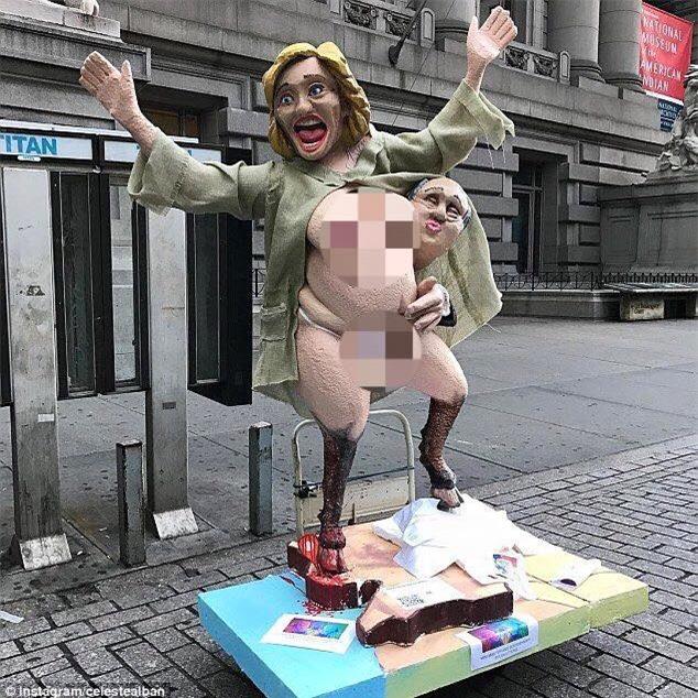Dân Mỹ đánh lộn vì tượng khỏa thân của Hillary Clinton - 1