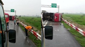 Hiện trường vụ lật xe khách thảm khốc trên cao tốc Pháp Vân – Cầu Giẽ