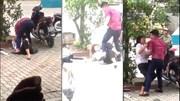 Hà Nội: Chồng đánh vợ dã man trước quán cà phê