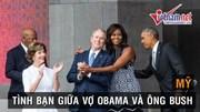 Vợ Obama 'hồn nhiên' ôm cựu Tổng thống Bush trước mặt chồng