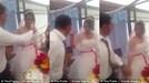 Trêu đùa khi đút bánh cưới cho chồng, cô dâu bị chú rể tát ngay trong lễ cưới