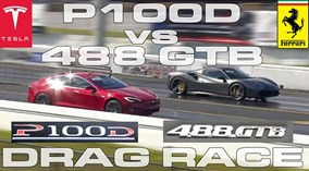 """Ferrari 488 Spider """"toát mồ hôi"""" trong cuộc chiến với Tesla Model S P100D"""