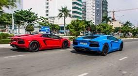 """Bộ đôi Lamborghini Aventador màu độc nhất Việt Nam """"đua tốc độ"""" trên phố"""