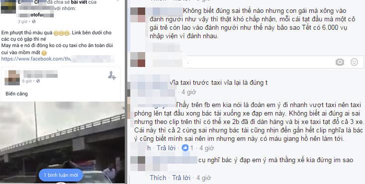 clip: nu phuot thu xinh dep chui the, cam gach nem lai xe taxi hinh anh 2