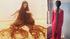 Ngắm 'suối tóc' mượt mà dài hơn 2m của 'công chúa tóc mây' ngoài đời thực