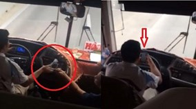 Tài xế xe khách đánh 'đầu đít', chơi điện tử trong lúc lái xe