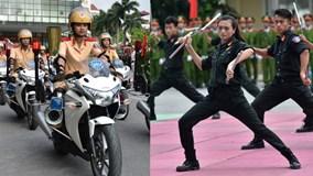 Nữ cảnh sát tương lai múa côn, lái xe phân khối lớn