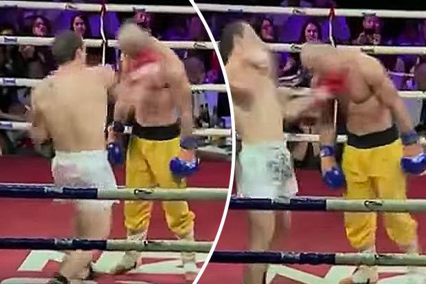 Võ sĩ Lưu Nhất Long dùng mặt đỡ hàng loạt cú đấm của võ sĩ MMA