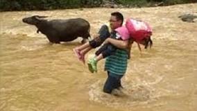 Thầy giáo kéo phao, giúp học sinh vùng lũ vượt suối tựu trường