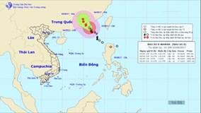 Bão trên Biển Đông di chuyển về phía Trung Quốc