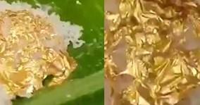 Cỗ cưới xa xỉ với món cơm bọc vàng 24k