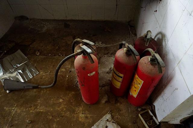 Những bình cứu hỏa mini nằm bám mạng nhện.