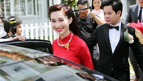 Đặng Thu Thảo hạnh phúc và rạng rỡ trên xe rước dâu cùng chồng đại gia