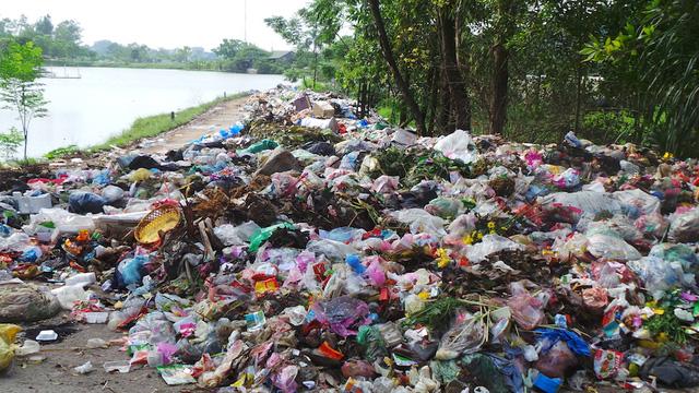 Cảnh rác ngập ngụa con đường bê tông nằm cách Chùa Trầm khoảng vài trăm m, bốc mùi hôi thối nồng nặc.