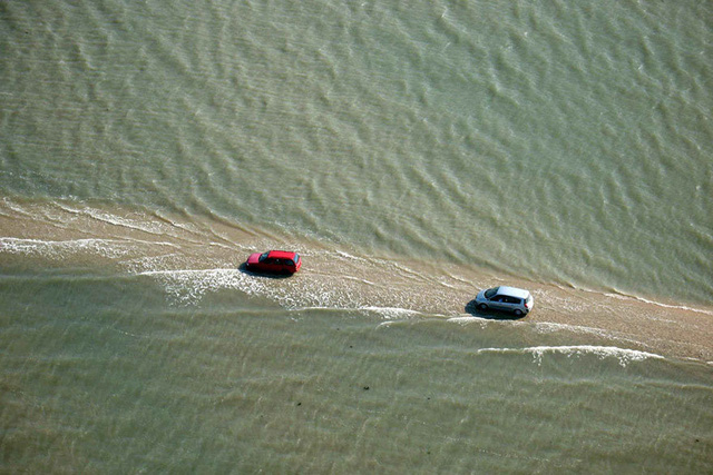 Những chiếc xe đi giữa làn nước