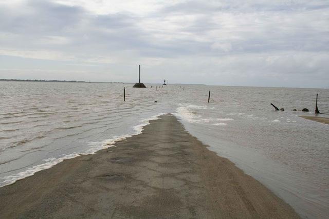 Passage du Gois chỉ xuất hiện 2 lần/ngày khi thủy triều rút rồi lại biến mất trong làn nước