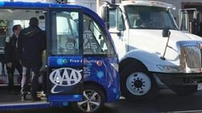 Hiện trường vụ tai nạn giữa xe buýt tự lái và xe tải ở Las Vegas