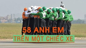 Kỷ lục thế giới:  58 anh em trên cùng một chiếc xe máy