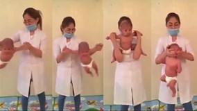 Xôn xao video 'bé sơ sinh tập yoga', bác sĩ xem cũng đứng tim, dừng hình
