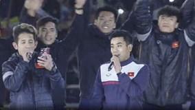 Các tuyển thủ U23 hát vang 'Niềm tin chiến thắng' tại Mỹ Đình