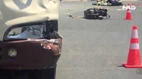 Xe khách lùa gần chục xe máy trên đường, 8 người nhập viện