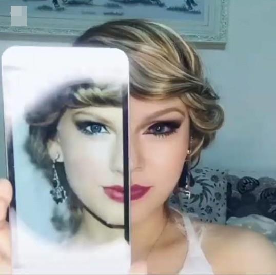 Chỉ vài phút múa cọ cô gái đã biến hóa thành Taylor Swift và Rihanna-1