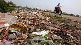 Rác hôi thối trải dài cả trăm mét đê giáp ranh Hà Nội