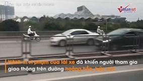 4 'ninja' nối đuôi nhau phóng ngược chiều trên cầu cạn vành đai 3