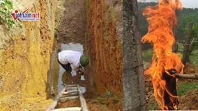 Bất ngờ đào hố phát hiện dầu  rỉ theo mạch nước