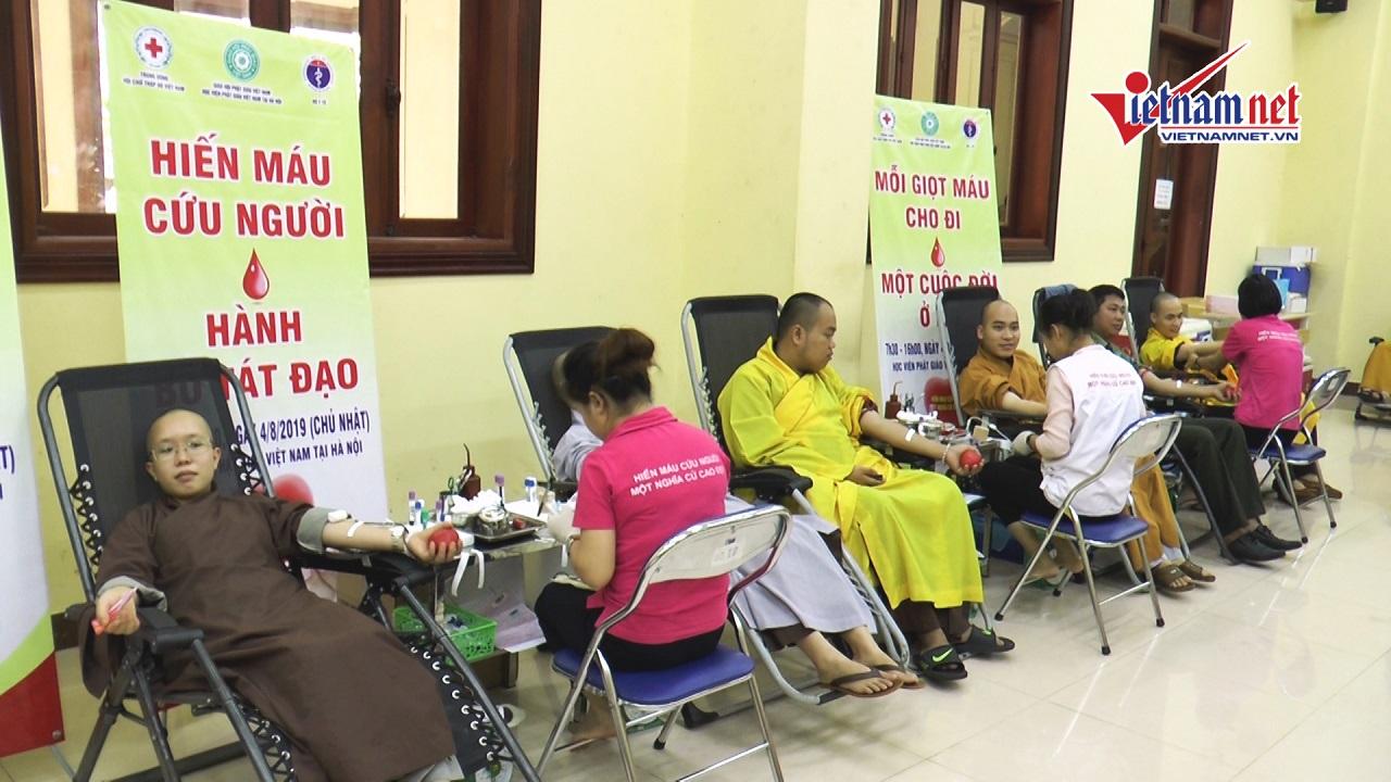 Gần 500 tăng ni sinh Học viện Phật giáo tham gia Hiến...