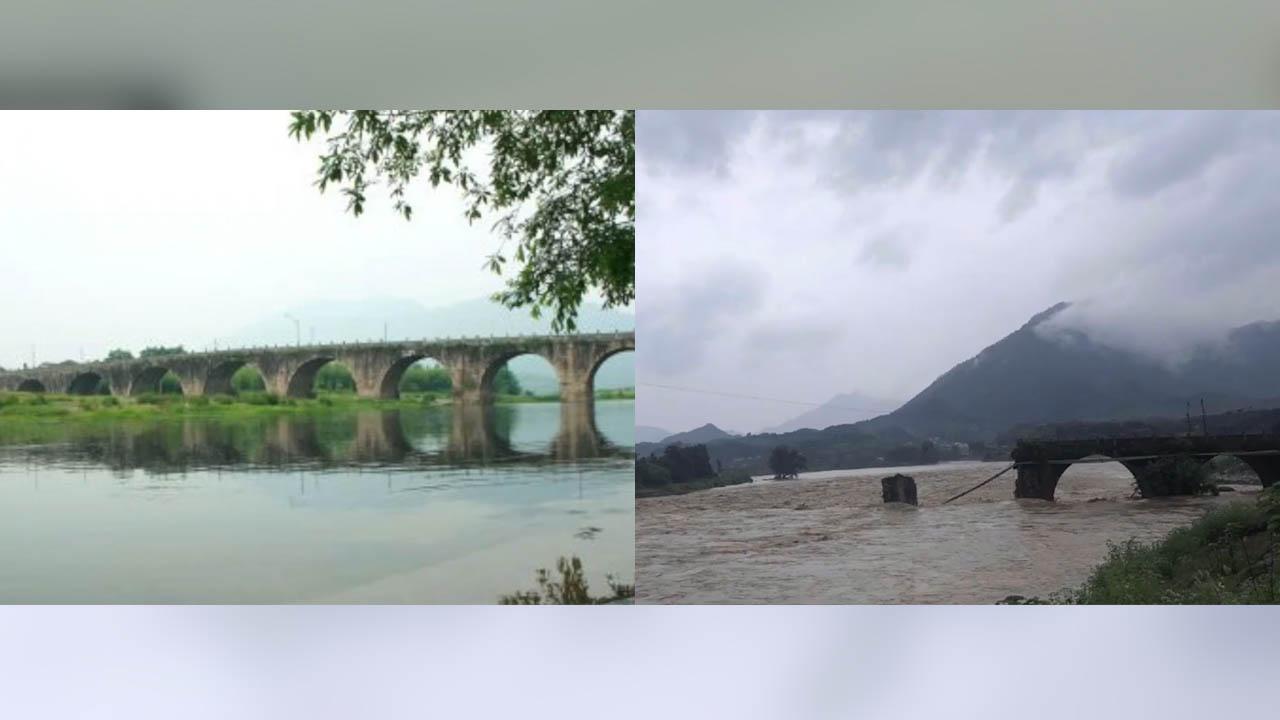Nước lũ chảy xiết cuốn trôi cây cầu gần 500 năm tuổi ở Trung Quốc
