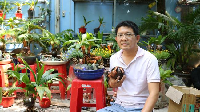 Dừa khô hóa bonsai trâu độc lạ đón tết Tân Sửu 2021