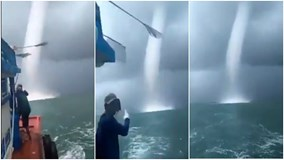 Sóc Trăng: Vòi rồng cao hàng trăm mét xuất hiện gần tàu của ngư dân