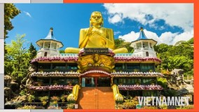 Choáng ngợp trước hang động tượng Phật dát vàng ở Sri Lanka