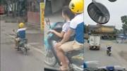 Bố để bé gái lái xe máy phóng như bay trên đường
