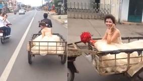 Màn rước dâu 'chất lừ' bằng xe chở hàng gây xôn xao cộng đồng mạng