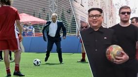 'Kim Jong Un' làm náo loạn Moscow, TT Nga Putin trổ tài sút penalty