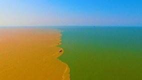 Cảnh tượng ngoạn mục khi sông Hoàng Hà chảy ra biển khơi