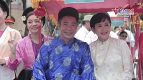 'Bắc Đẩu' Công Lý diện áo the khăn xếp trong hôn lễ truyền thống