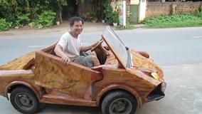 'Siêu xe' Lamborghini bằng gỗ lăn bánh tại Việt Nam