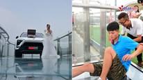 Cô gái dùng ô tô và vali đầy tiền cầu hôn bạn trai ở cầu kính cao 350m