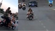 5 nữ sinh cấp 2 trên chiếc xe tay ga phóng vun vút trên đường