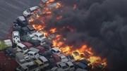Siêu bão tấn công Nhật Bản: Hơn 100 ôtô bốc cháy dữ dội