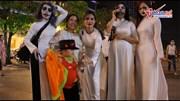 'Ma quỷ' mặc áo dài nữ sinh gây sốt phố đi bộ Sài Gòn đêm Halloween