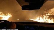 Khoảnh khắc lái xe chở cả gia đình lao qua khu rừng cháy ngùn ngụt