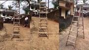 Chiếc thang bị ma ám 'tự đi' khiến dân tình hoảng sợ