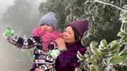 Băng  tuyết phủ trắng đỉnh Mẫu Sơn khiến du khách ngỡ ngàng