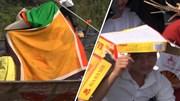 Người dân trùm áo, đội bìa các-tông trẩy hội chùa Hương