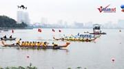 Hồ Tây 'dậy sóng' với cuộc tranh tài đua thuyền rồng kịch tính