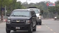 Đoàn xe chở thiết bị và mật vụ bảo vệ Tổng thống Mỹ đến Hà Nội